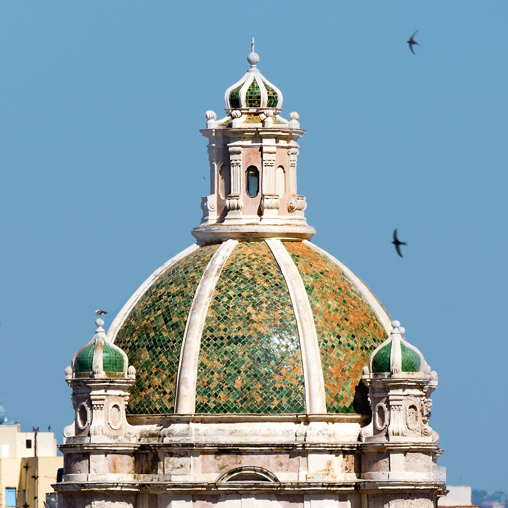 Trapani: Tiled dome.