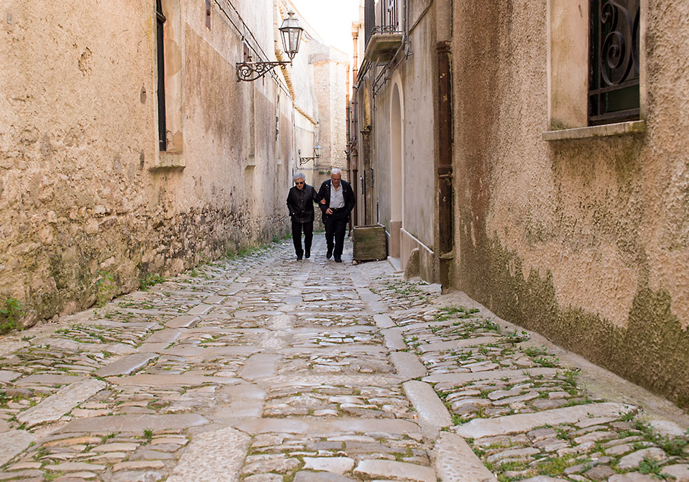 Cobbled street in ERice, Sicily.