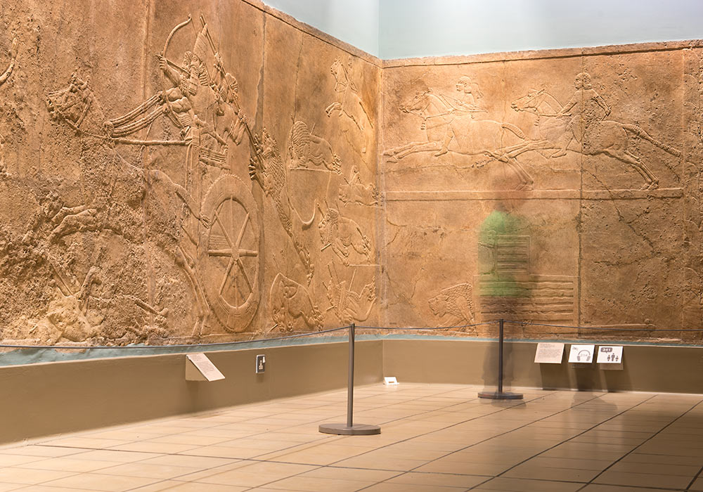 Assyrian Lion Hunt Reliefs at British Museum, London