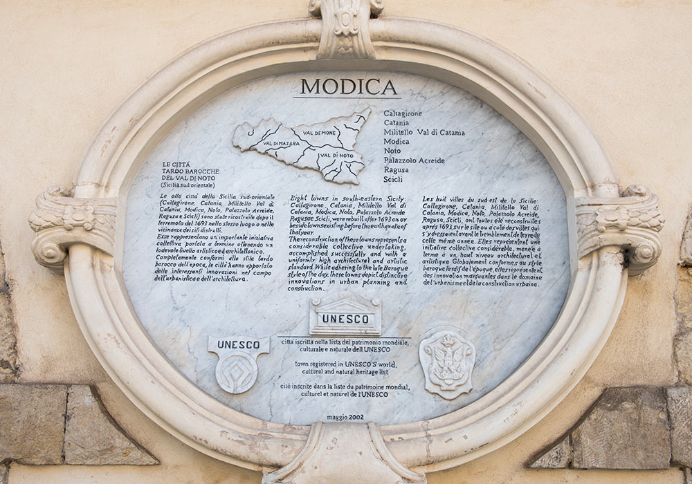 Modica is registered in UNESCO's world cultural and natural heritage list
