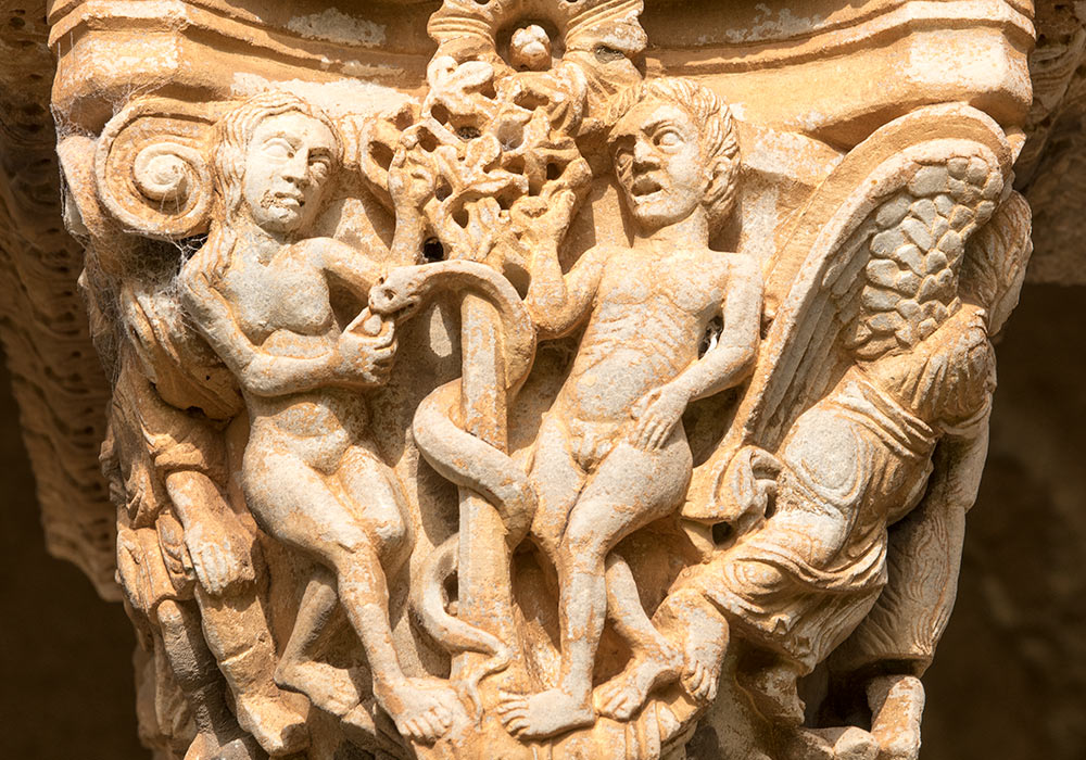 Adam and Eve on a capital, the Benedictine Cloister, Monreale, Sicilia