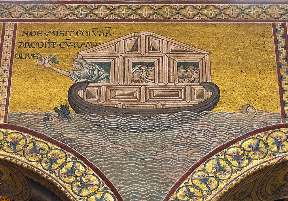 Monreale Cathedral: Mosaics on the south wall. Noah and the dove.