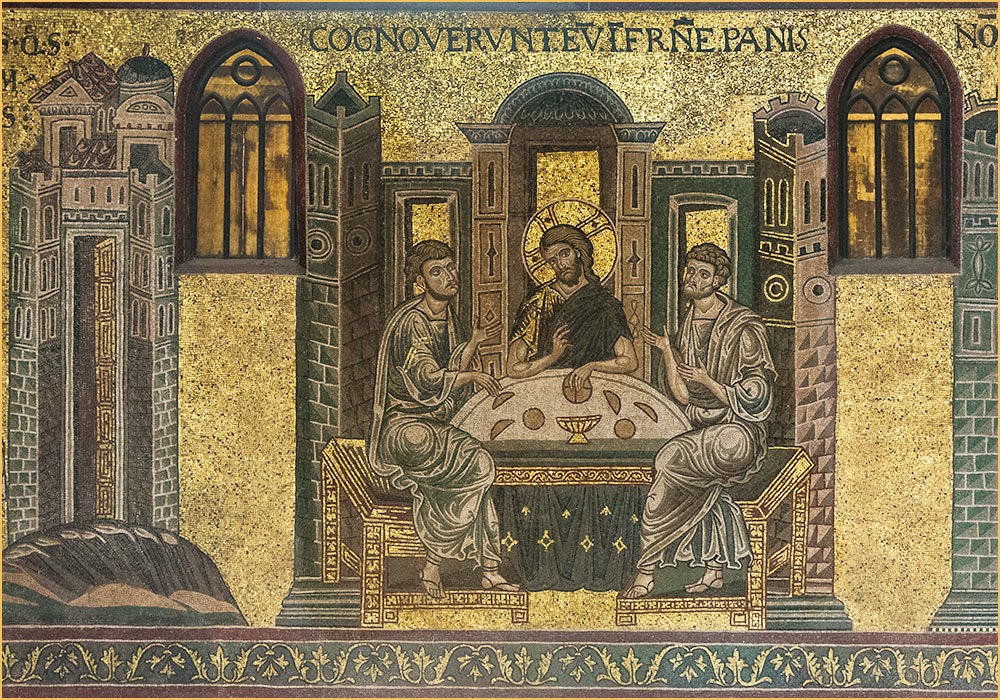 "Monreale Cathedral mosaic: Cognoverunt eum in fractione panis: ""Then the two told what had happened on the way, and how Jesus was recognized by them when he broke the bread"" (Luke 24,35)"