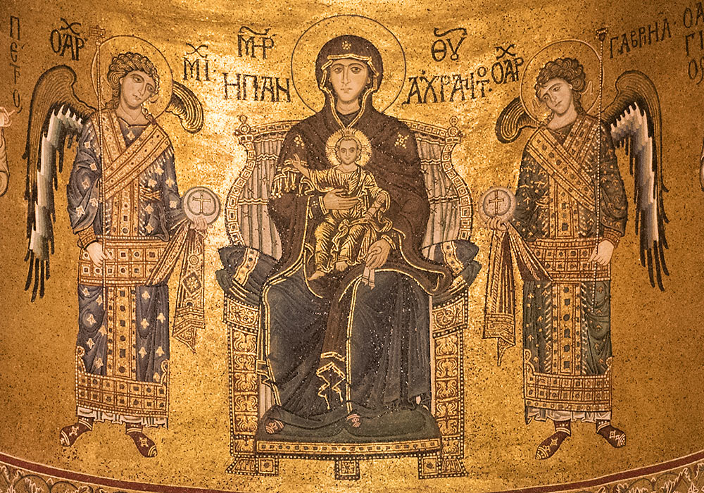 Monreale Cathedral: The Virgin and Child enthroned.