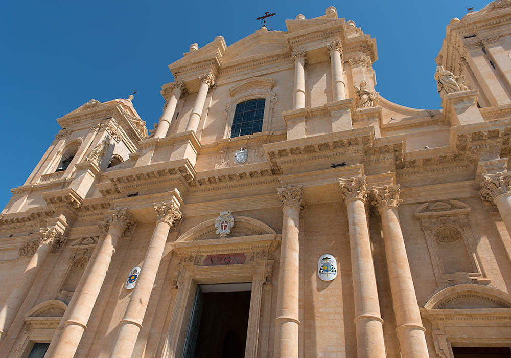 The baroque cathedral in Noto seen from a low angle