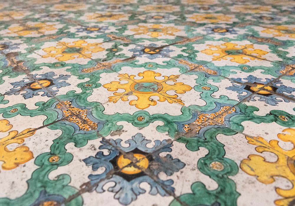 majolica tiles (from Caltagirone) in the deconsecrated church of Montevergine, Noto