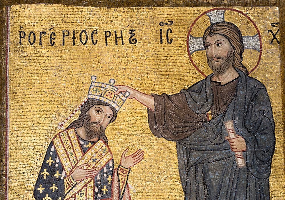 The Normans in Sicily: Roger II receiving the crown directly from Christ and not the Pope. Mosaic in the Martorana, Palermo