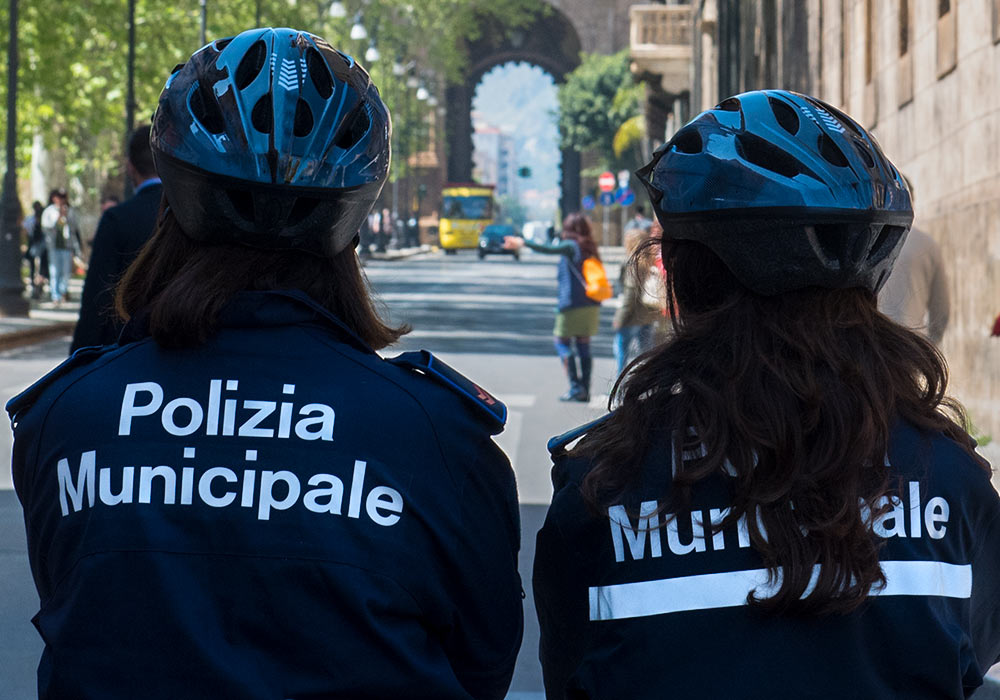 Female police officers during a demonstration near Porta Nuova, Palermo