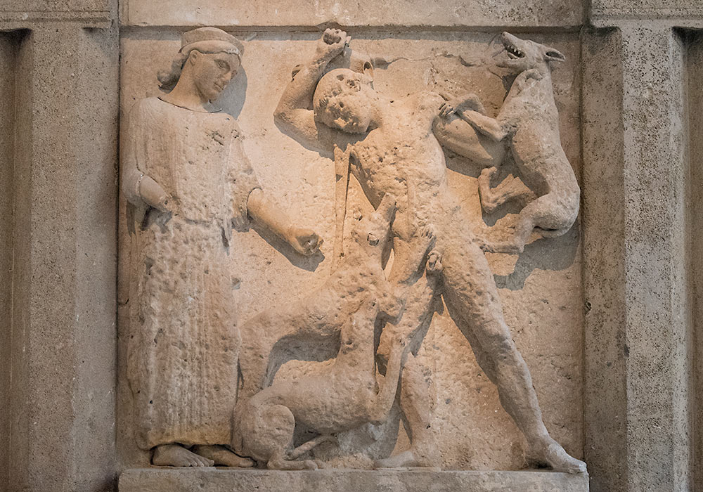 Actaeon punished for having seen Artemis, the goddess of hunting, naked. Selinunte, Temple E, 460-450BC. Limestone and marble. Archeological Museum, Palermo.