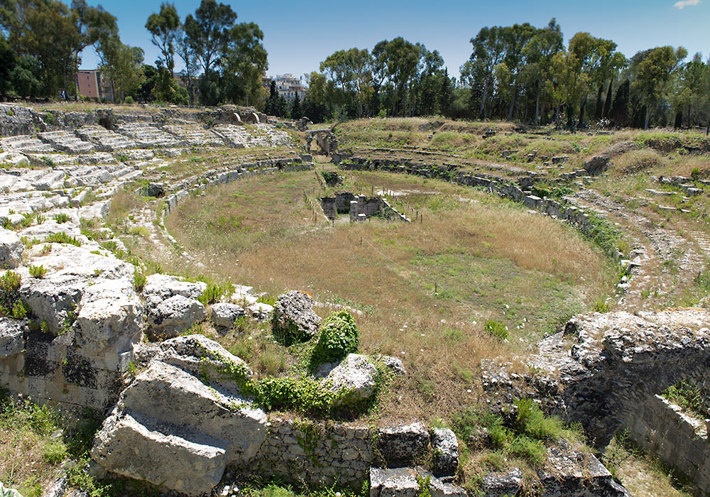 The Roman amphitheatre in Syracuse, used for gladiator fights.