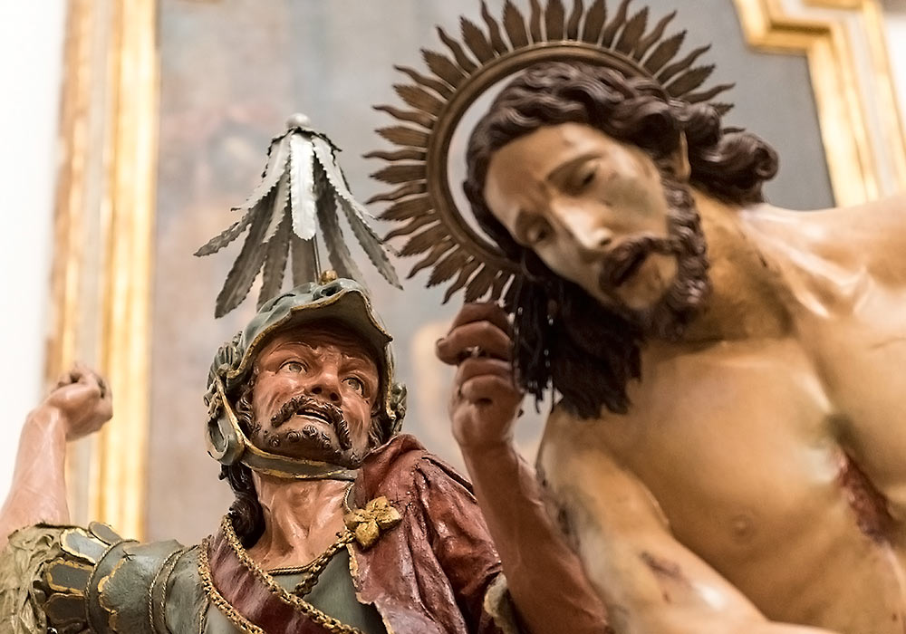 "La flagellazione: The flagellation of Christ (detail), one of the many sculptures used in the ""Misteri"" processions on Good Friday in Trapani."