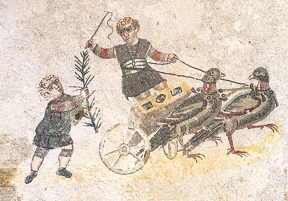 chariot with birds, Villa romana del Casale