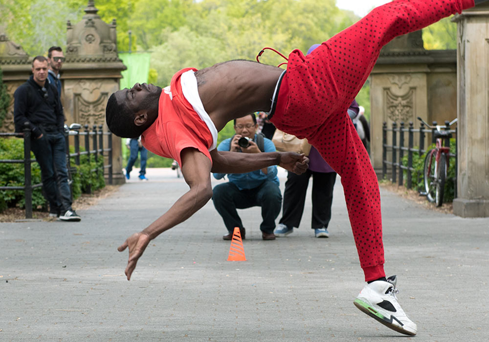 Acrobat in Central Park, New York