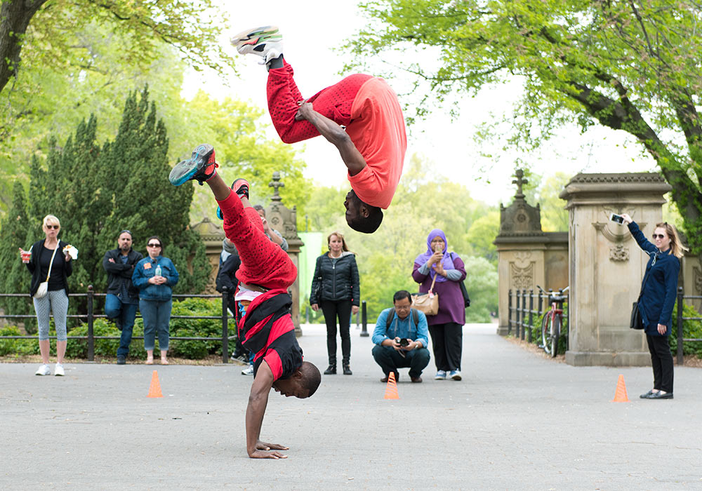 Acrobats in Central Park, New York