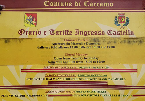 castello opening hours caccamo