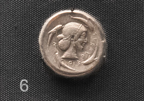Silver tetradrachm coin, Siracusa, about 470 BC. British Museum