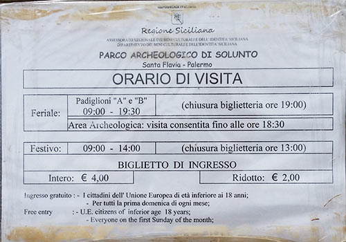 Opening hours (Orario di visita) at Solunto Archeological Park.