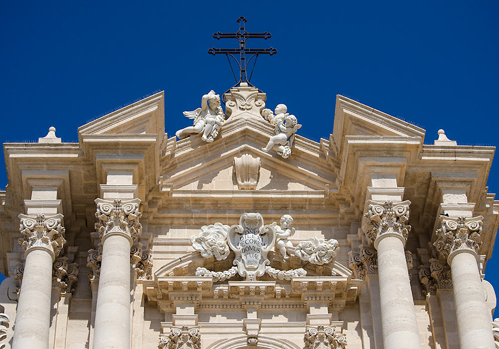 The facade of the Cathedral in Syracuse